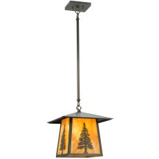 "12"" Sq Stillwater Tall Pine Pendant"