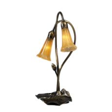 """16"""" H Amber Pond Lily 2 Lt Accent Lamp"""