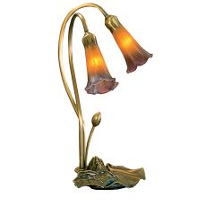 "16"" H Amber/Purple Pond Lily 2 Lt Accent Lamp"