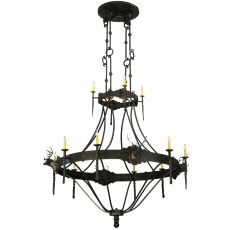 """66.5"""" W Stag 12 Lt Two Tier Chandelier"""