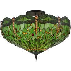 """38"""" W Tiffany Hanginghead Dragonfly Flushmount"""
