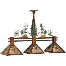 """45"""" L Winter Pine Tall Pines 3 Lt Island Pendant"""