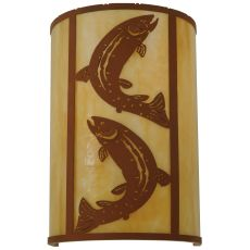 """12"""" W Leaping Trout Wall Sconce"""