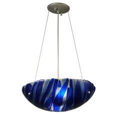 "15.75"" W Metro Fusion Azul Glass Inverted Pendant"