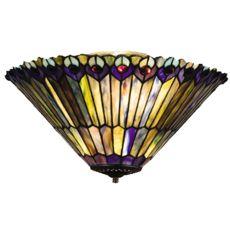 "17"" W Tiffany Jeweled Peacock Fan Light Fixture"
