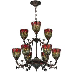 "28"" W Red Rosebud 9 Lt Two Tier Chandelier"