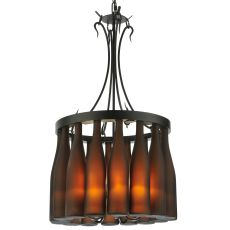 "18"" W Tuscan Vineyard Villa 16 Wine Bottle Chandelier"