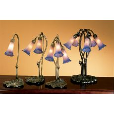 "16"" H Pink/Blue Pond Lily Accent Lamp"