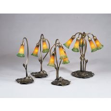 """16"""" H Amber/Green Pond Lily 3 Lt Accent Lamp"""