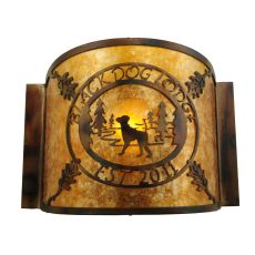 """12"""" W Personalized Black Dog Lodge Wall Sconce"""