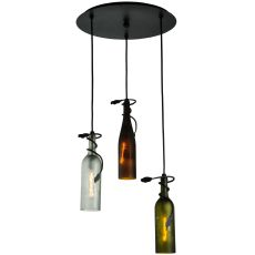 "18"" W Tuscan Vineyard Multi-Color 3 Wine Bottle Cascading Pendant"