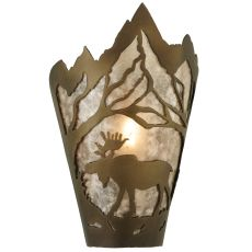 "8"" W Moose At Dawn Left Wall Sconce"