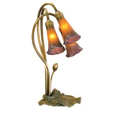 "16"" H Amber/Purple Pond Lily 3 Lt Accent Lamp"