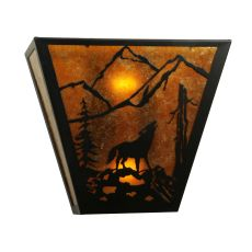 "13"" W Northwoods Wolf On The Loose Wall Sconce"