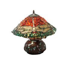 """16.5"""" H Dragonfly Polished Agata Table Lamp"""