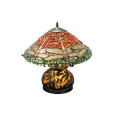 """16.5"""" H Dragonfly Polished Agata W/Lighted Base Table Lamp"""