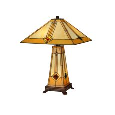 "23"" H Diamond Mission Lighted Base Table Lamp"