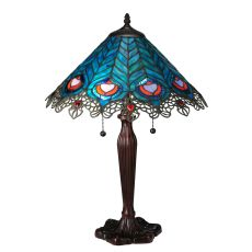 "23"" H Peacock Feather Lace Table Lamp"