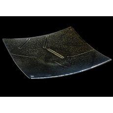 "13.75"" Sq Metro Fusion Goldfusion Glass Plate"