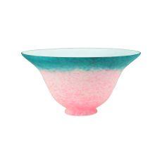 "7.5"" W Pink/Teal Pate-De-Verre Bell Shade"