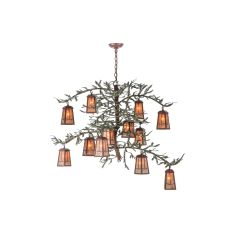 "52"" W Pine Branch Valley View 12 Lt Led Chandelier"