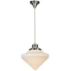 """14"""" W Revival Schoolhouse W/Deco Cone Globe Pendant"""