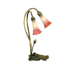 "16"" H Pink/White Pond Lily 2 Lt Accent Lamp"