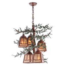 "28"" W Pine Branch Valley View 5 Lt Chandelier"