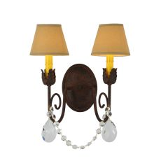 "13"" W Antonia 2 Lt W/Crystals Wall Sconce"