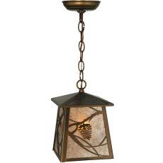 "7"" Sq Whispering Pines Lantern Pendant"