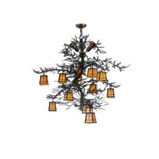 "52"" W Pine Branch Valley View 12 LT W/Uplights Chandelier"
