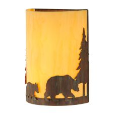 "10"" W Pine Tree And Bear Wall Sconce"