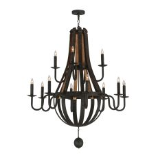 "48"" W Barrel Stave Madera 12 Lt Two Tier Chandelier"