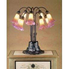 """22"""" H Amber/Purple Pond Lily 10 Lt Table Lamp"""