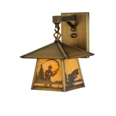 "8"" W Stillwater Fly Fishing Creek Hanging Wall Sconce"