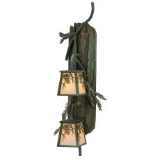 "10"" W Pine Branch Winter Pine 2 LT Vertical Wall Sconce"