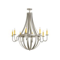 "48"" W Barrel Stave Metallo 8 Lt Chandelier"