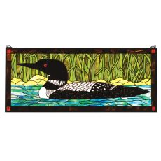 """40"""" W X 17"""" H Loon Stained Glass Window"""