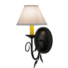 """7"""" W Bordeaux W/Fabric Shade Wall Sconce"""