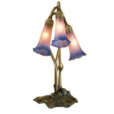 "16"" H Pink/Blue Pond Lily 3 Lt Accent Lamp"