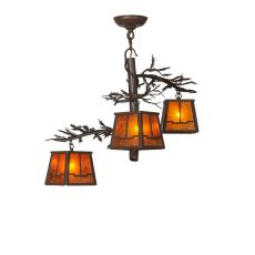 "28"" W Pine Branch Valley View 3 Lt Chandelier"