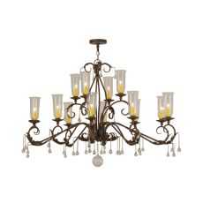 "63"" L Windsor 14 Lt W/Crystals Oblong Chandelier"