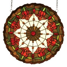 """18"""" W X 18"""" H Colonial Tulip Stained Glass Window"""