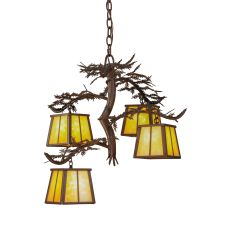 "28"" W Pine Branch 4 Lt Chandelier"