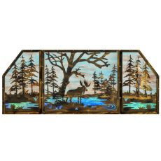 "72"" W X 30"" H Moose At Lake 3 Panel Stained Glass Window"