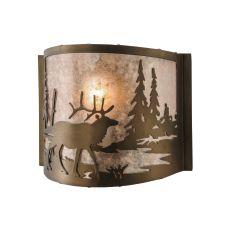 "11"" W Elk At Lake Wall Sconce"