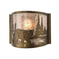 "11"" W Northwoods Bear At Lake Wall Sconce"