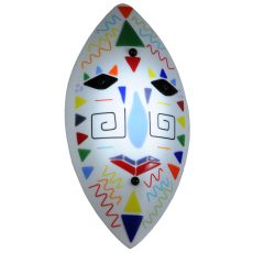 """9"""" W Tribal Mask Fused Glass Wall Sconce"""