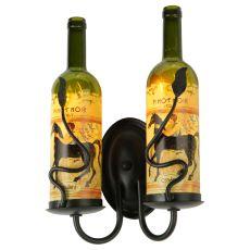 "9"" W Tuscan Vineyard Personalized 2 Lt Wine Bottle Wall Sconce"