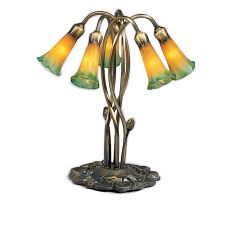 "16.5"" H Amber/Green Pond Lily 5 Lt Accent Lamp"